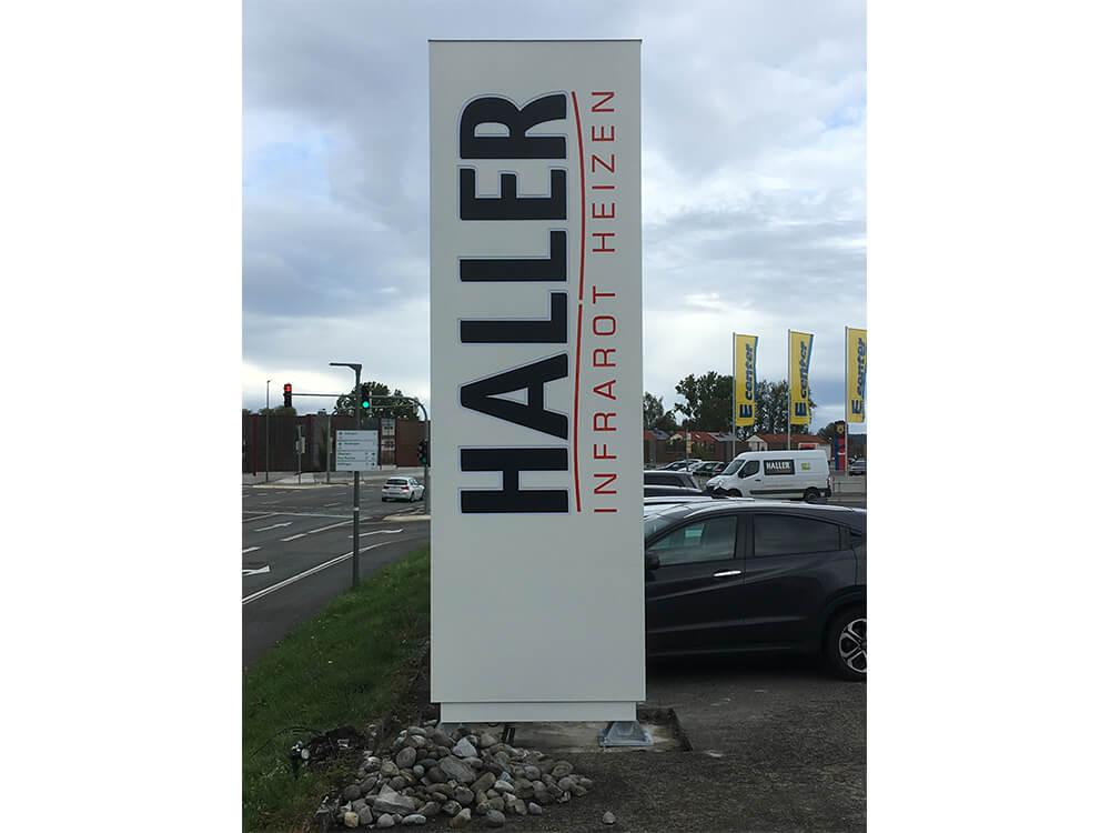 Werbepylon der Firma Haller - Werbepylon.de
